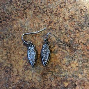 Kate earrings in gunmetal drusy